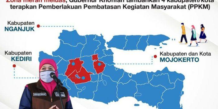 Gubernur Khofifah tambah 4 daerah yang menerapkan PPKM di Jawa Timur setelah Zona Merah semakin meluas