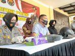 Kasat Reskrim Polres Ponorogo saat merilis kasus Begal Payudara yang terjadi di Jalan Baru Desa Kemuning Sambit Ponorogo